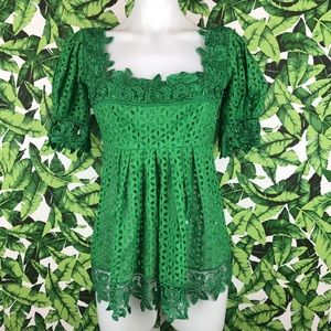 5 for $25 Moda International Green Eyelet Lace Top